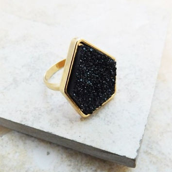 Women's Black New Year's Eve Druzy Ring