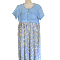 Vintage 90s Dress Boho Dress 90s Babydoll Dress Long Floral Dress 90s Floral Dress Chambray Dress 90s Sunflower Dress Baby Doll Dress 1990s