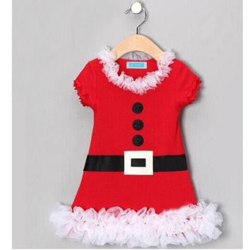 Baby Girl New Year Christmas Winter Lace Dress With Belt Santa Children Clothing Christmas Costume Outfits Kids Ball Party Wear