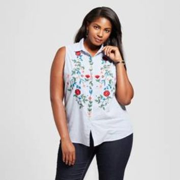 Women's Plus Size Sleeveless Embroidered Chambray Top - Notations