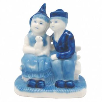 Blue and White Figurine: Dutch Couple Sitting on Bench