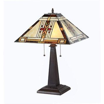Customary Tiffany - Styled Attractive Mission Table Lamp by