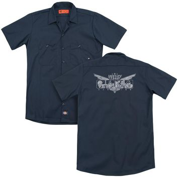 Jla - Justice Wings (Back Print) Adult Work Shirt