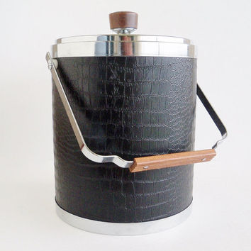 KROMEX Ice Bucket Black Faux Leather and Chrome