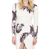Ink And Wash Floral Print Long Sleeve Wrap Bodycon Mini Dress with Slit