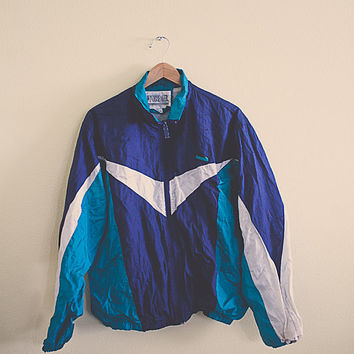 90's Windbreaker Navy Blue Aqua Turquoise Blue Jacket Coat Extra Large L Hipster Preppy 80s Club Kid Active Wear Oversized Slouchy