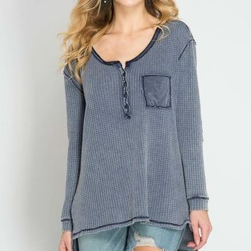 Stone-Washed Thermal Top (Navy)