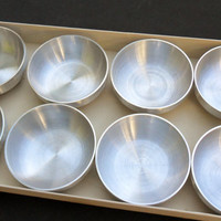Vintage West Bend Gift Ware Dipping Bowls Mid Century Modern Spun Aluminum Rare Boxed Set of 8 Individual Sauce Melted Butter Bowls G5 36