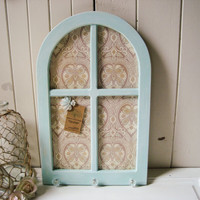 Pale Blue Magnetic Arch Shaped Wall Hanging, Window Shaped Frame with Magnetic Board, Memo Organizer, Key Holder, Office and Home Memo Board