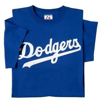 Los Angeles Dodgers (ADULT MEDIUM) 100% Cotton Crewneck MLB Officially Licensed Majest