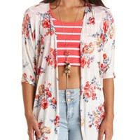 Knit Floral Print Kimono Top by Charlotte Russe - Ivory Combo