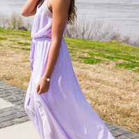 Cleopatra Lavender Halter Top Gold Embellished Drawstring Chiffon Maxi Dress