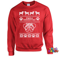 Ugly Christmas Sweatshirt Pugly Christmas Christmas Sweatshirt Pug Sweater Presents For Christmas Christmas Outfits Xmas Gifts Hoodie DN-211