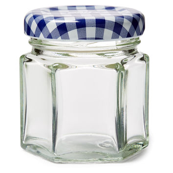 Blue Check Jars, 1.6 Oz, Set of 6, Kitchen Canisters, Canning & Spice Jars