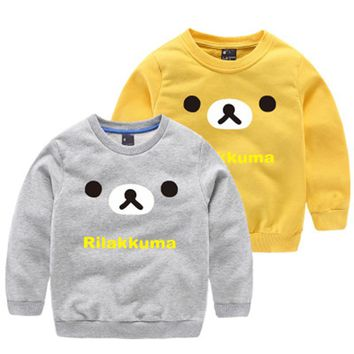 100% cotton long sleeve Kids's T-shirt for boy with letter pattern O-neck collar 2 color  2-8ys children top clothing