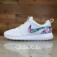 Nike Roshe One Customized by Glitter Kicks - WHITE / FLORAL PRINT