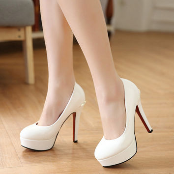 Summer Korean High Heel Waterproof Round-toe Shoes [6044949057]