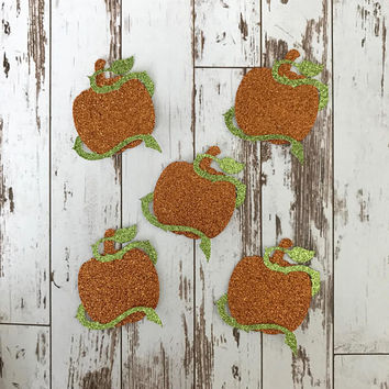 12 pcs HALLOWEEN Special Pumpkin with Vine - Glitter Die Cut/Party Decorations/Embellishment/ Table Scatter/Cupcake Topper