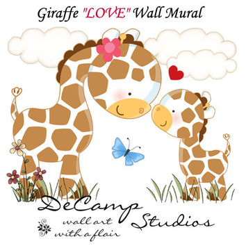 GIRAFFE LOVE MURAL Wall Decals Girl Boy Nursery Kids Room Childrens Bedroom Jungle Zoo Safari Cute Animals Butterfly Art Stickers Decor