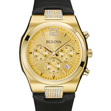 Bulova Ladies Crystal - Swarovski Crystals - Gold-Tone Case/Dial - Leather Strap