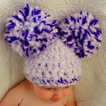 Pom Pom hat for baby girl  newborn pom pom hat by crochetedcuddles