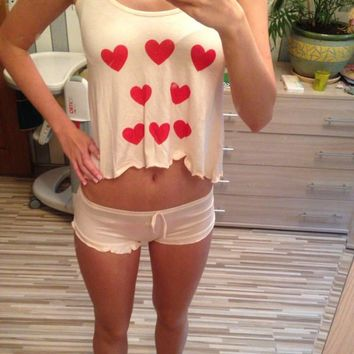 Summer Sexy Cute Heart shape Sling Vest & Purfle pants Modal Sets Pyjamas Home Clothes
