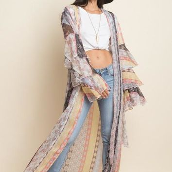 patchwork stripe maxi cardigan with ruffle sleeve