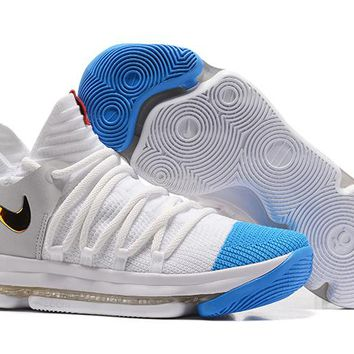 low priced 46c8f b5145 2017 Nike Mens Kevin Durant KD 10 Sky Blue White Gold Basketball Shoes
