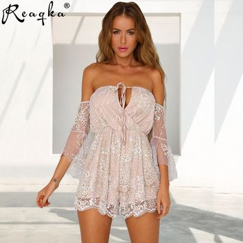 Sexy Women Summer Gold Sequins Short Jumpsuit 2019 Elegant Halter Bandage Romper Backless Bodycon Strapless Mesh Casual Playsuit