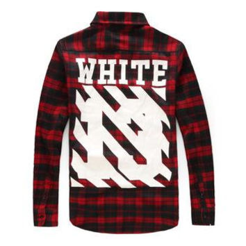 Hip Hop Style Mens Red Tartan Plaid Shirts Long Sleeve Flannel Casual Lattice Skateboard Shirt Men PYREX WHITE 13 Camisa Social