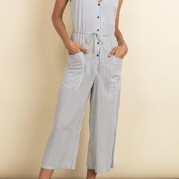 Gemma Cropped Jumpsuit in Blue Stripes