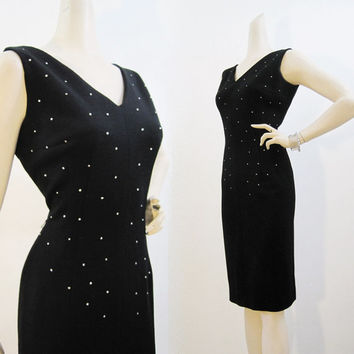 50s 60s Dress Vintage Rhinestone Studded Wiggle Cocktail LBD M L