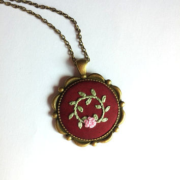 Round Pendant Bronze Chain Necklace, Pink Flower Necklace, Romantic Jewelry