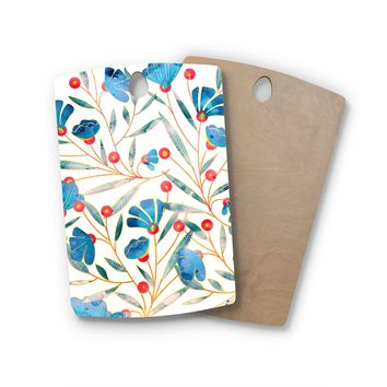"83 Oranges ""Bluebella"" Blue White Nature Floral Illustration Watercolor Rectangle Wooden Cutting Board"