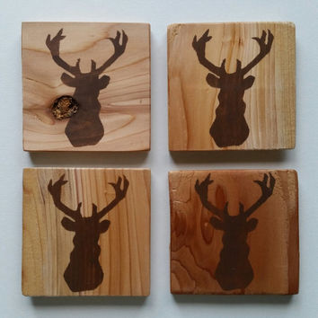 Deer Coasters, Painted Wood Coasters, Custom Coasters, Rustic, Deer Silhouette Wood Coasters, Deer Outline, Buck Coasters, Wood Coasters