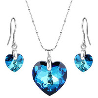 "EleQueen 925 Sterling Silver ""Heart of Ocean"" Bridal Necklace Earrings Set Bermuda Blue Adorned with Swarovski Crystals"