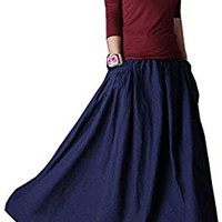 SUFEI Women's Linen Skirt Long Skirts Plus Size Blue