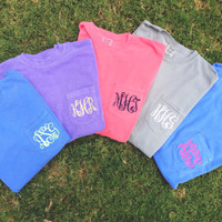 Comfort Colors Long Sleeve Pocket Tee Monogram Shirt