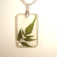 Real Pressed Leaf Resin Necklace