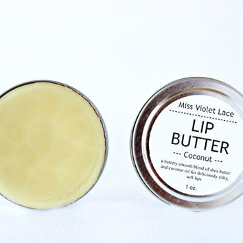 coconut LIP BUTTER. 100% natural lip balm / lip cream - coconut