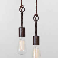 Industrial Spring Pendant Light Bare Bulb Trouble Light Pendant Lamp - Vintage Rustic Modern // Cloth Covered Twisted Cord & Bakelite Plug