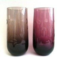 Mid Century English Etched Glass Pair, Smoky And Wine Color | Luulla