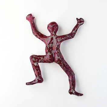 Metal sculpture - Climbing man sculpture - wire mesh sculpture - home decor - metal wall art - wall hanging - red