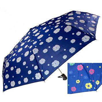 """Color Changing Umbrella Blue 42"""" Rain Stoppers Floral Flowers Auto Open Close"""