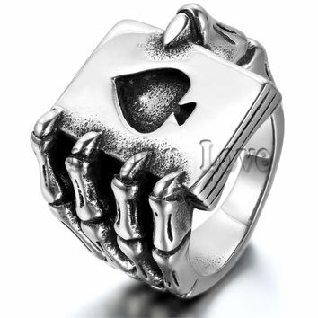 Ghost Era - Poker Deck Ring - Silver