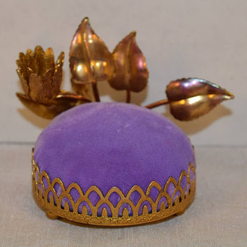 Gold Floral Purple Pin Cushion Vintage Gold Filigree Purple Velvet Pin Cushion Sewing Accessory Materials Hollywood Regency Dresser Vanity