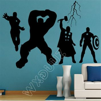 WXDUUZ Super hero fighting team Vinyl Wall Sticker Art Avengers Wall decal kids bedroom Home Decor bedroom Decor B328