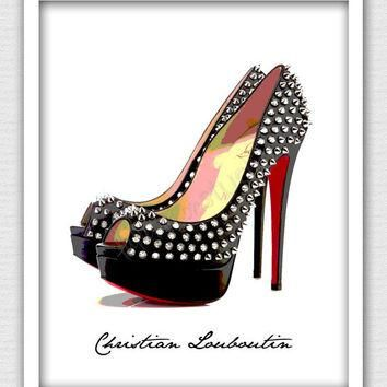 8 x 10 Wall Decor Print, Modern Home Decor, Christian Louboutin Art-Christian Loubouti