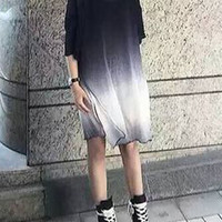 Black and White Gradient Side Slit loose Fitting Shirt
