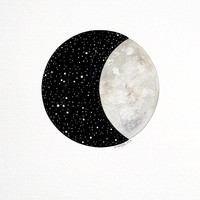 Moon and Stars 6 - Contemporary Original Watercolor Painting - Astronomy Art, Night Sky, Constellations - by Natasha Newton